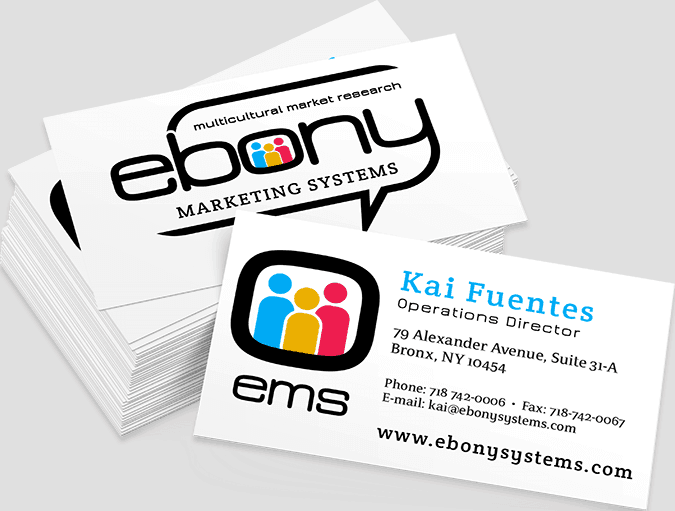 Ebony Marketing System Business Cards