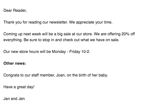 Bad Newsletter Example