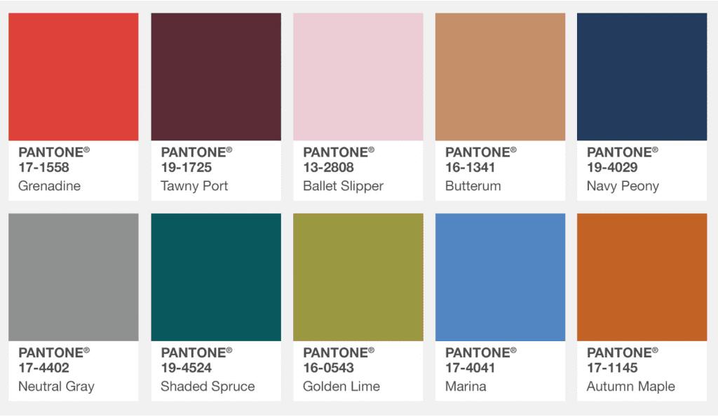 fall colors pantone