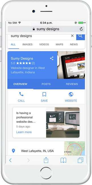 Google Posts on Mobile
