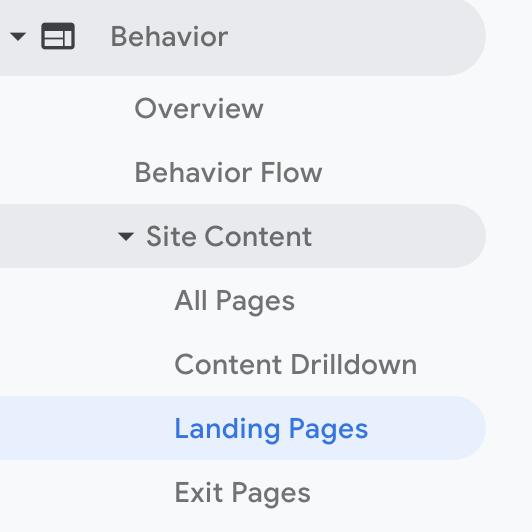Landing page data
