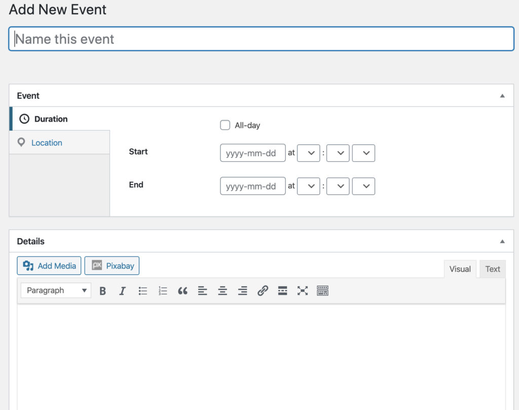 Adding events with Sugar event calendar plugin