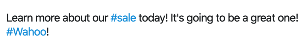 Example of useless hashtag