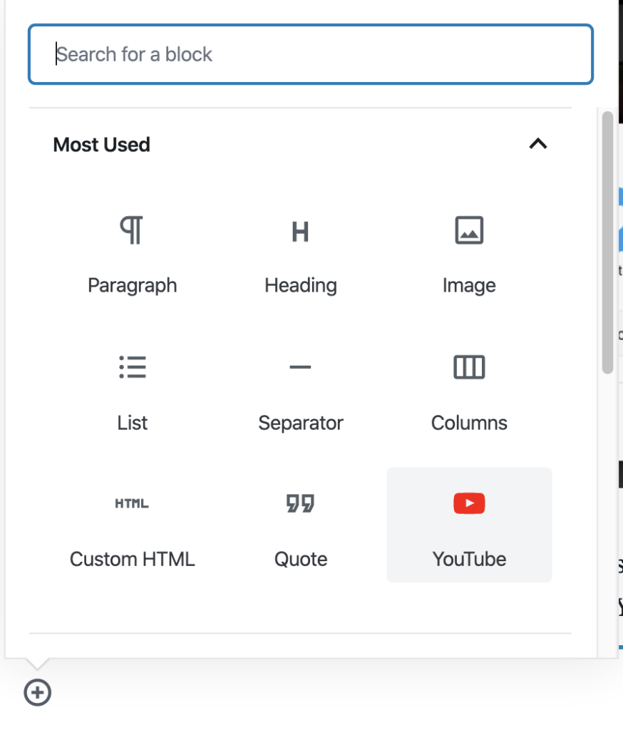 embed youtube video in WordPress with Gutenberg