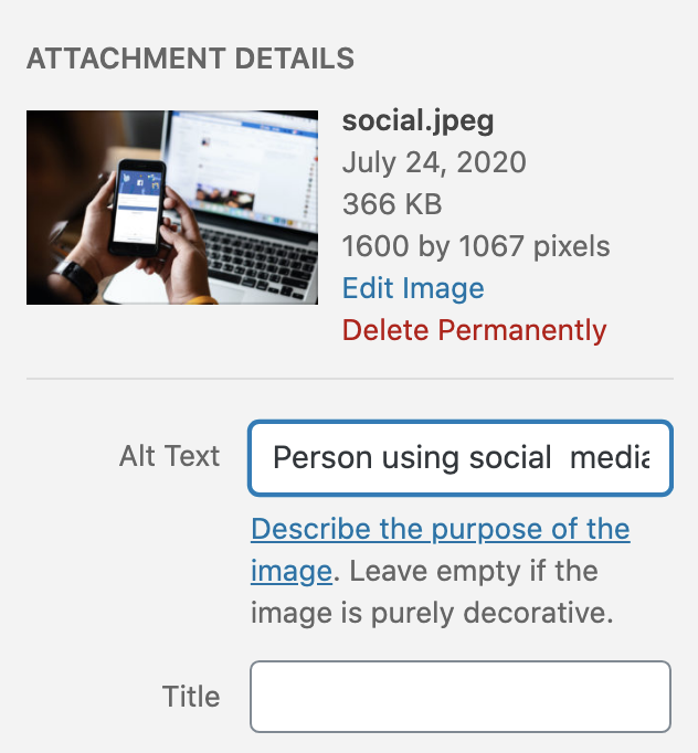 Alt text example in WordPress