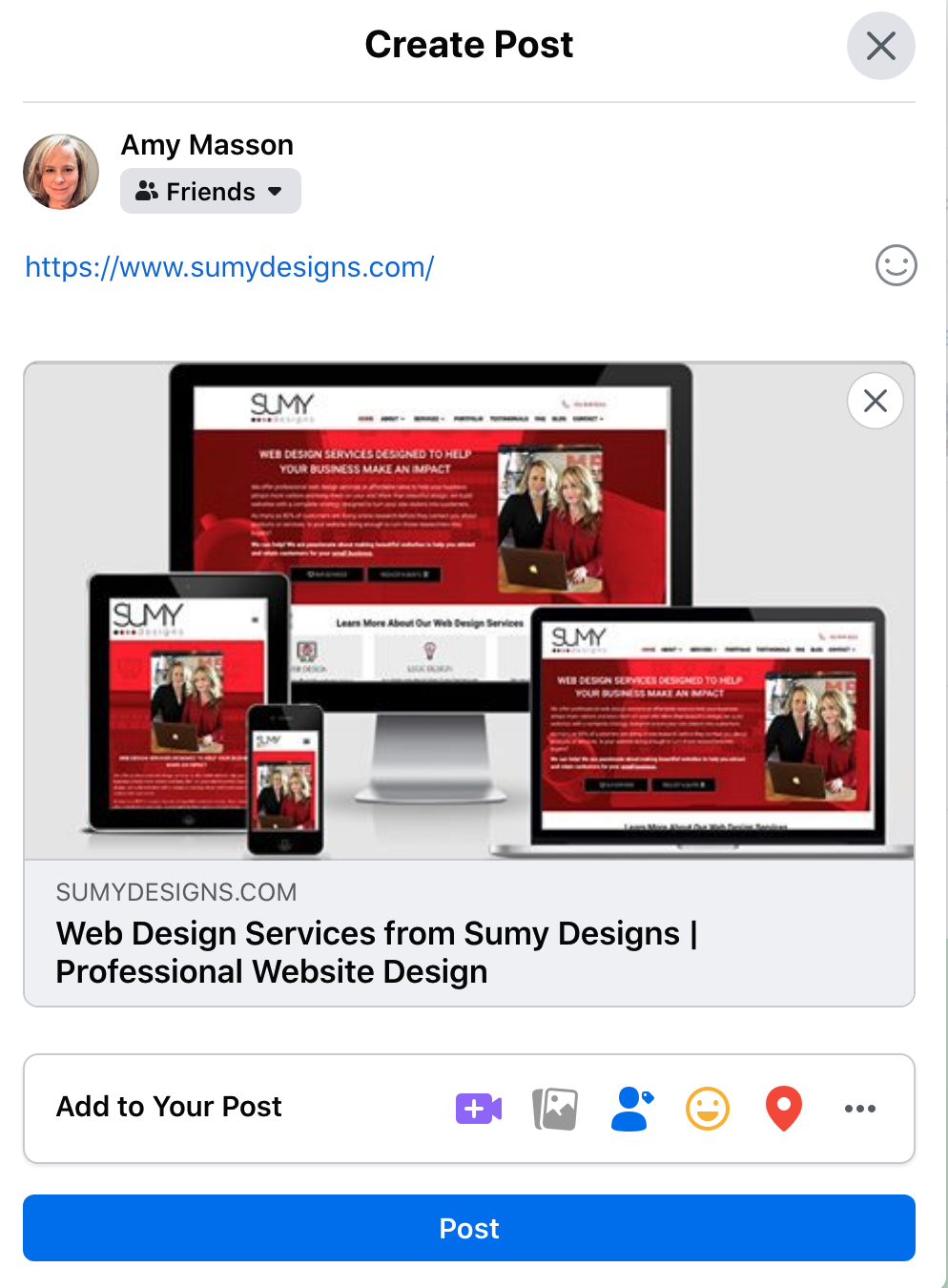 The Sumy Designs website when shared on Facebook.
