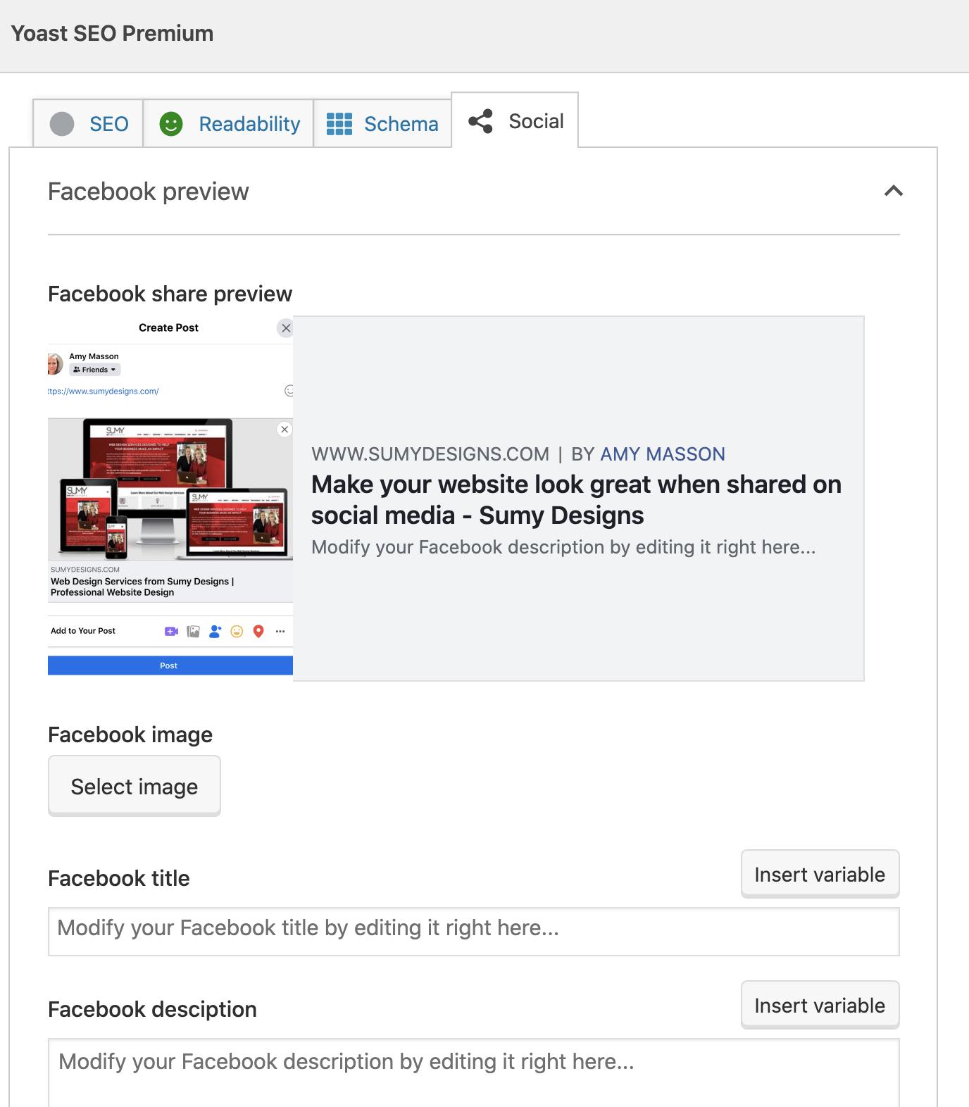 Yoast social sharing image selector.