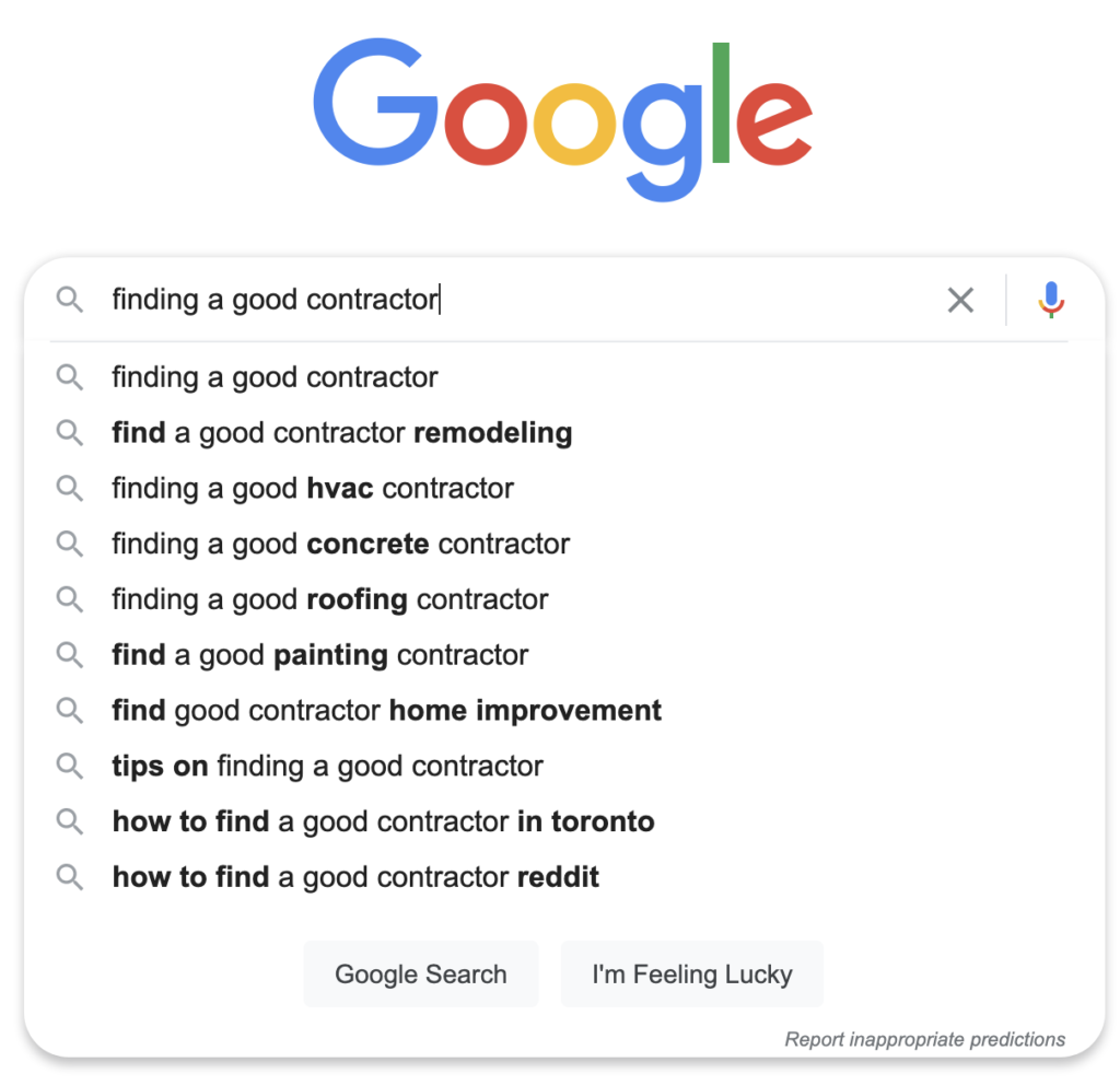 Example from Google Autocomplete