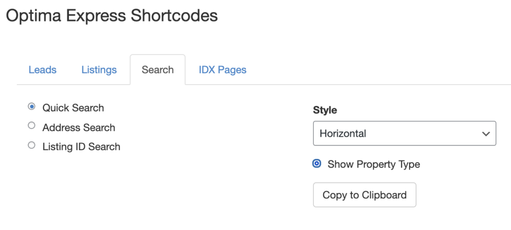 IDX Integration shortcode for an IDX search